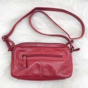 FOSSIL Red Leather Crossbody Bag-Organizer